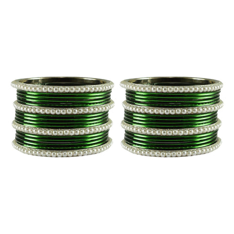 Dark Green Color Moti Brass Bangle - ban2920