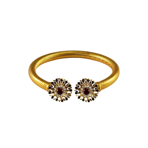 Golden Color Stone  Brass Bangle - ban2997
