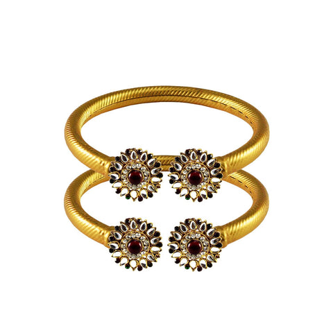 Golden Color Stone  Brass Bangle - ban2998