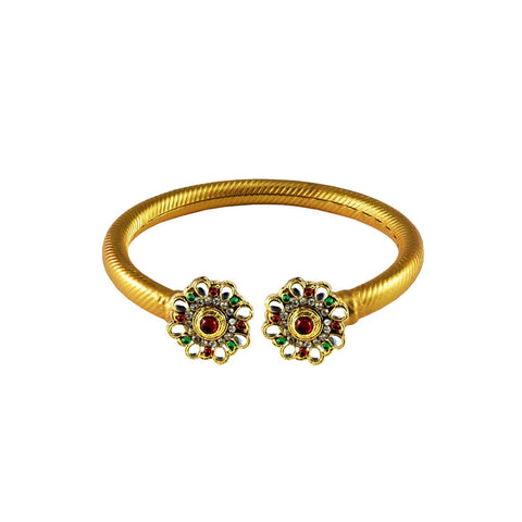 Golden Color Stone  Brass Bangle - ban3001