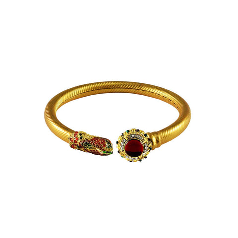 Golden Color Stone  Brass Bangle - ban3003