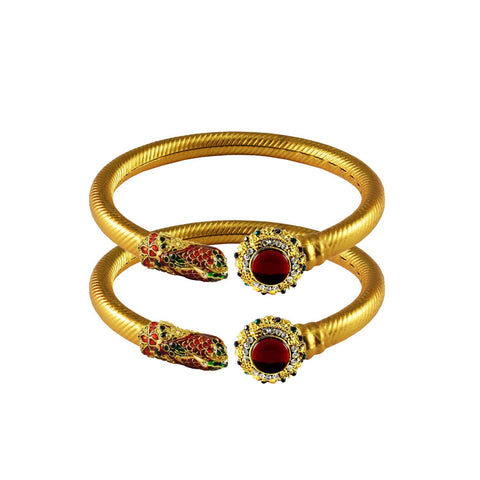 Golden Color Stone  Brass Bangle - ban3004