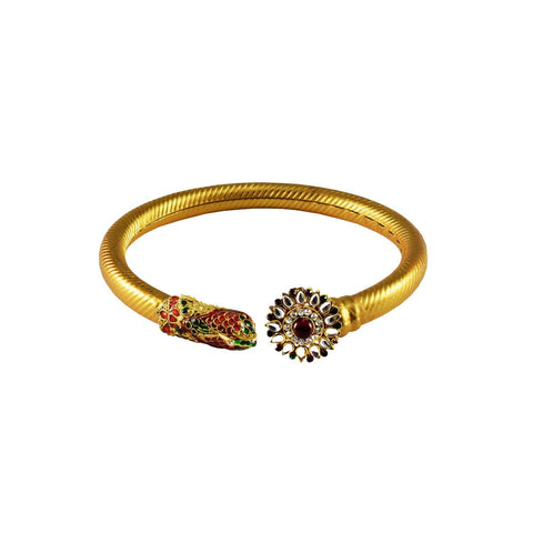 Golden Color Stone  Brass Bangle - ban3005
