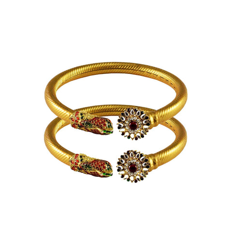 Golden Color Stone  Brass Bangle - ban3006
