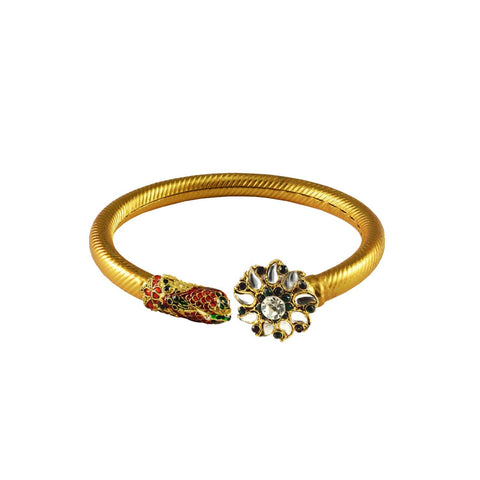 Golden Color Stone  Brass Bangle - ban3007