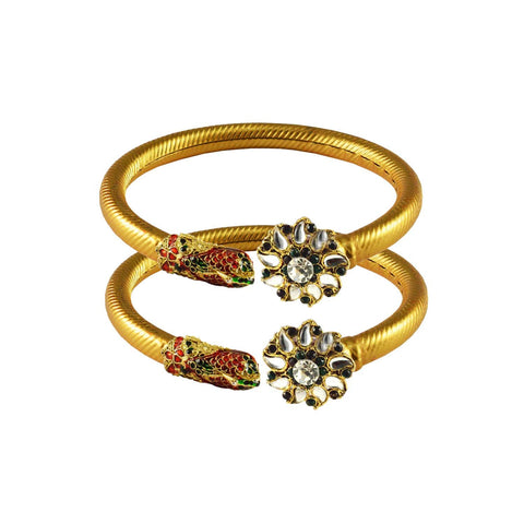 Golden Color Stone  Brass Bangle - ban3008