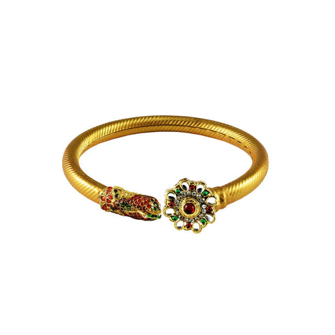 Golden Color Stone  Brass Bangle - ban3009