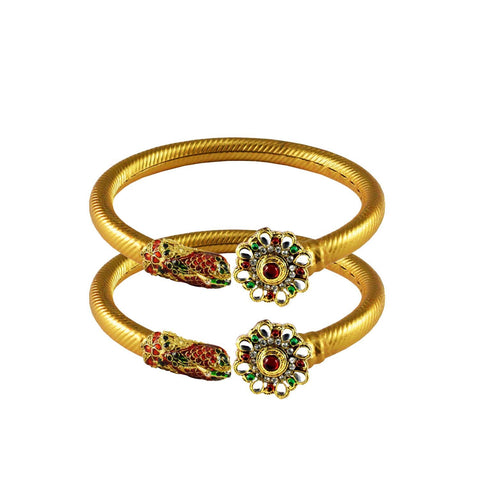 Golden Color Stone  Brass Bangle - ban3010