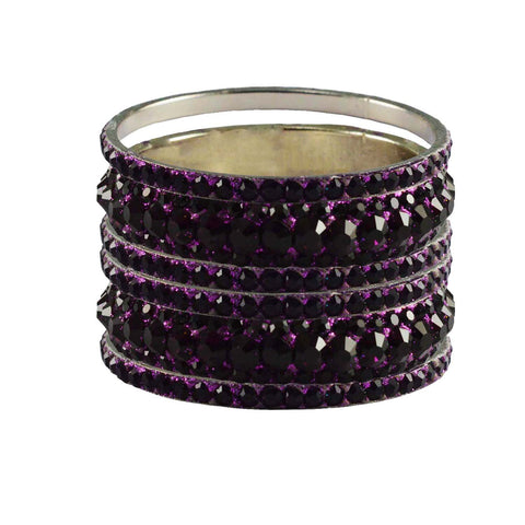 Dark Rani Color Stone Stud Brass Bangle - ban3204