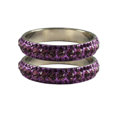 Violet Color Stone Stud Brass Bangle - ban3211