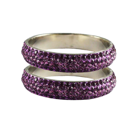 Violet Color Stone Stud Brass Bangle - ban3212