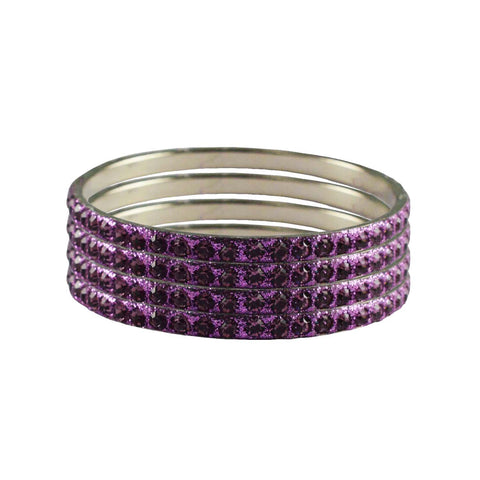 Violet Color Stone Stud Brass Bangle - ban3213