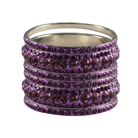 Violet Color Stone Stud Brass Bangle - ban3214