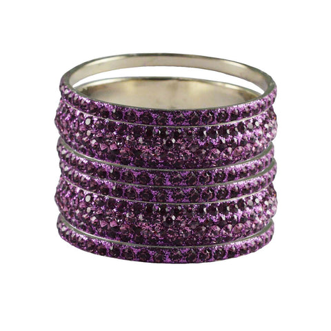 Violet Color Stone Stud Brass Bangle - ban3215