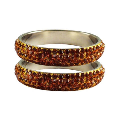 Orange Color Stone Stud Brass Bangle - ban3222