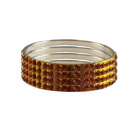 Orange Color Stone Stud Brass Bangle - ban3223