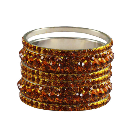 Orange Color Stone Stud Brass Bangle - ban3224