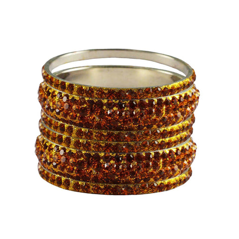 Orange Color Stone Stud Brass Bangle - ban3225