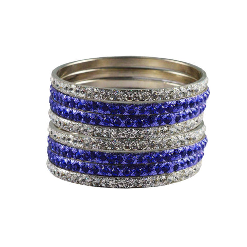 White-Blue Color Stone Stud Brass Bangle - ban3236
