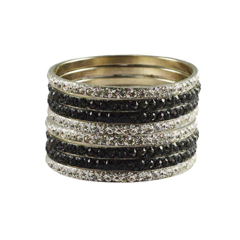 White-Grey Color Stone Stud Brass Bangle - ban3238