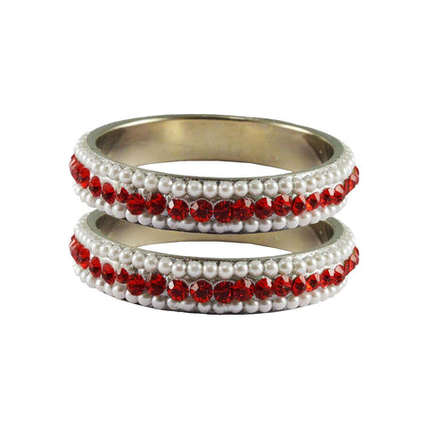 White-Red Color Moti Brass Bangle - ban3242