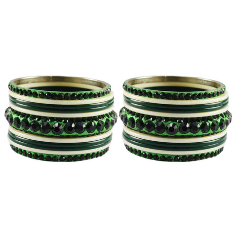 Green-White Color Stone Acrylic-Stud Brass Bangle - ban3244