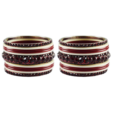 Red-White Color Stone Stud Acrylic-Brass Bangle - ban3253
