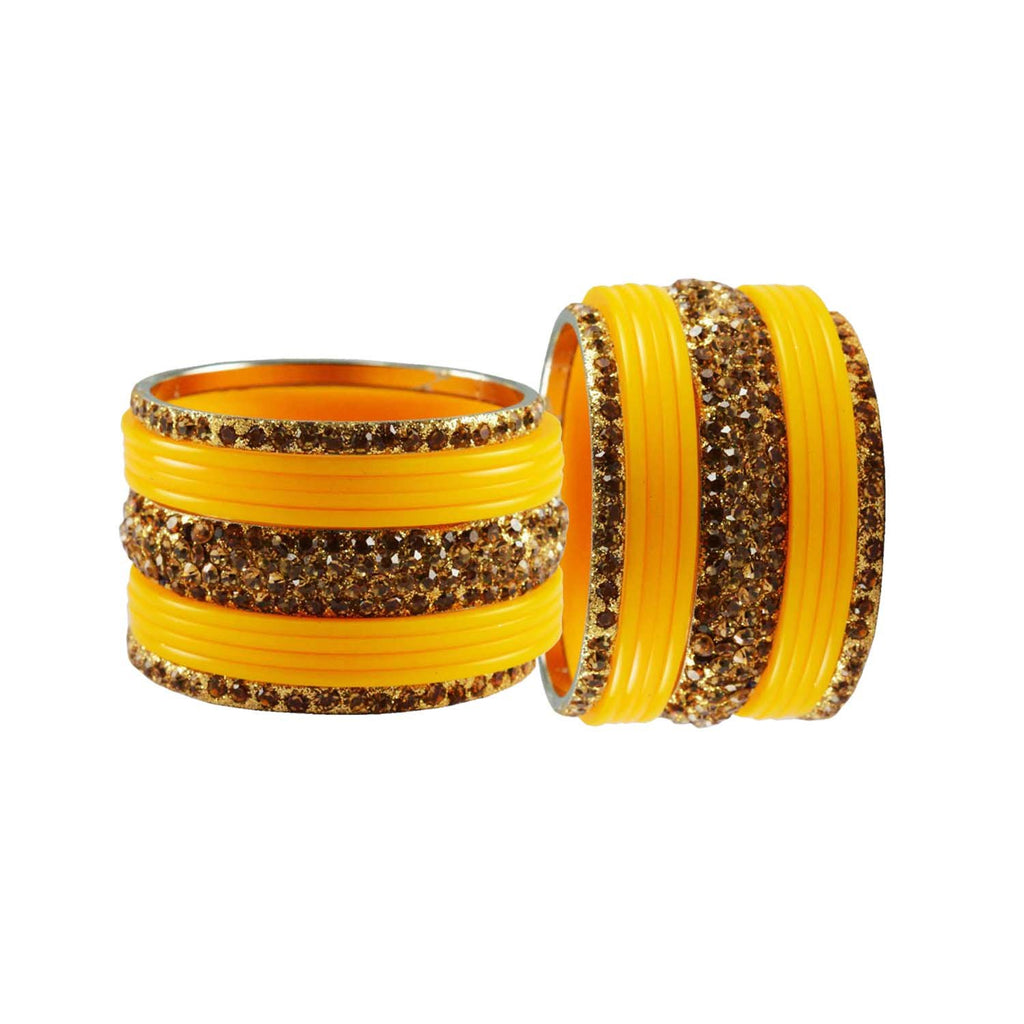 Yellow Color Stone Stud Acrylic-Brass Bangle - ban3255