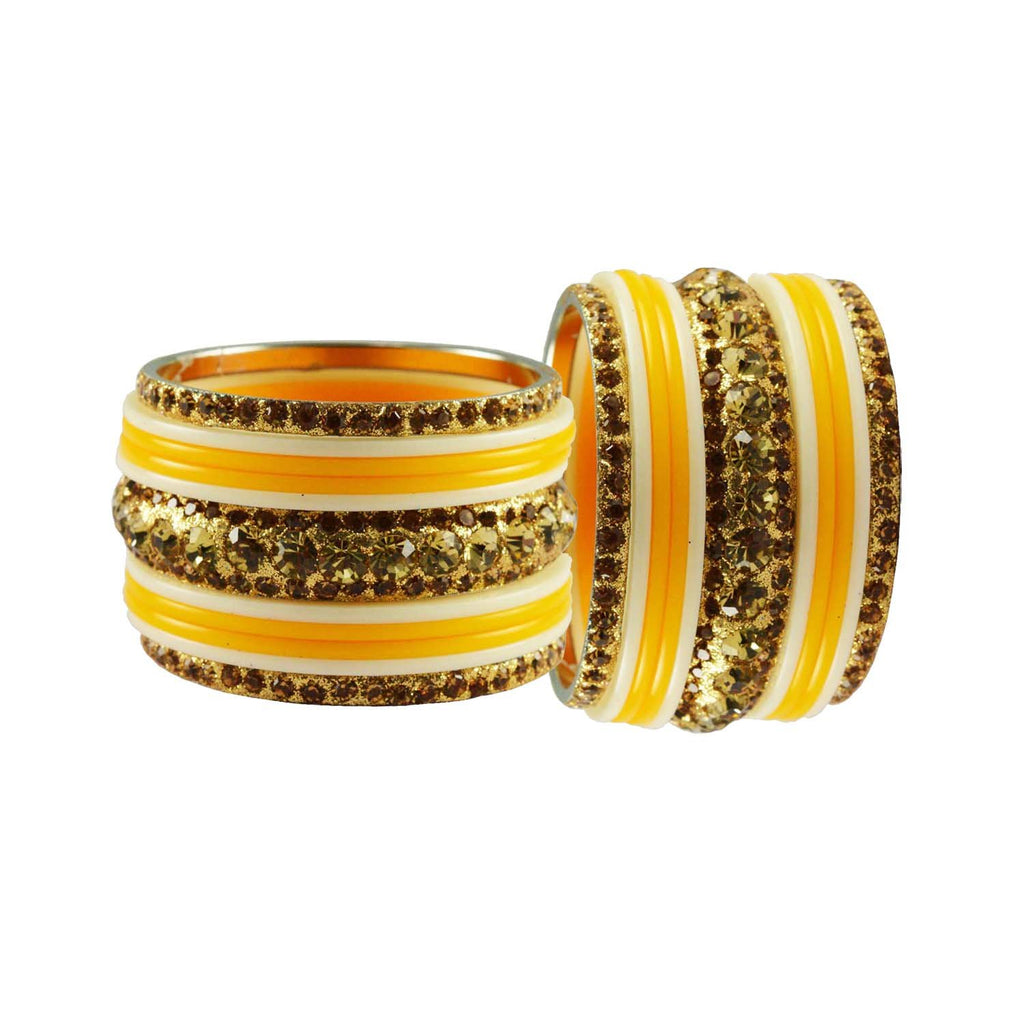 Yellow-White Color Stone Stud Acrylic-Brass Bangle - ban3256