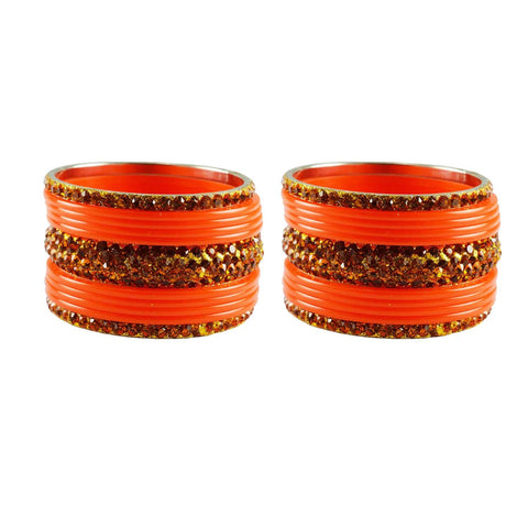 Orange Color Stone Stud Acrylic-Brass Bangle - ban3258