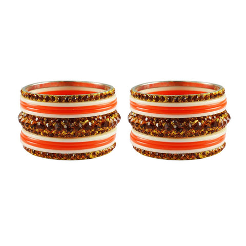 Orange-White Color Stone Stud Acrylic-Brass Bangle - ban3259