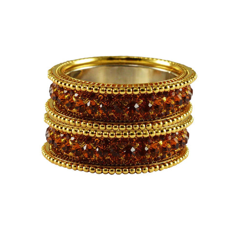 Copper Color Stone Stud Brass Bangle - ban3260