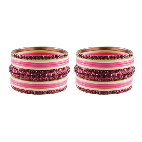 Pink-White Color Stone Stud Acrylic-Brass Bangle - ban3262