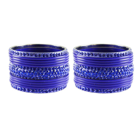 Blue Color Stone Stud Acrylic-Brass Bangle - ban3264