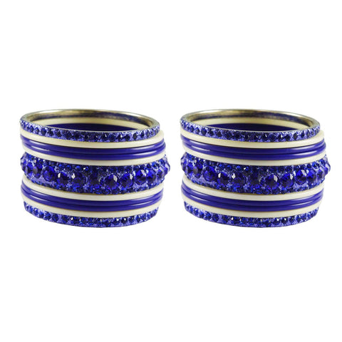 Blue-White Color Stone Stud Acrylic-Brass Bangle - ban3265