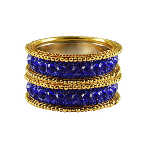 Blue Color Stone Stud Brass Bangle - ban3266