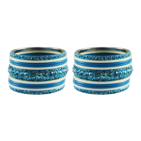 Firozi-White Color Stone Stud Acrylic-Brass Bangle - ban3268