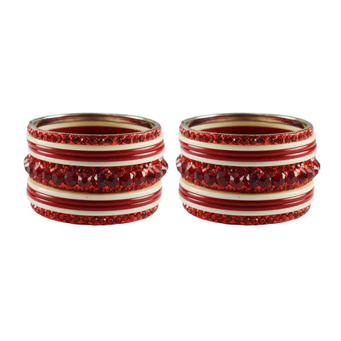 Red-White Color Stone Stud Acrylic-Brass Bangle - ban3271