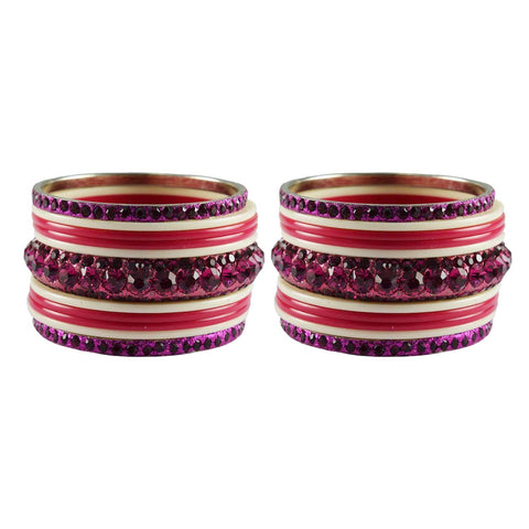 Gajari-White Color Stone Stud Acrylic-Brass Bangle - ban3274