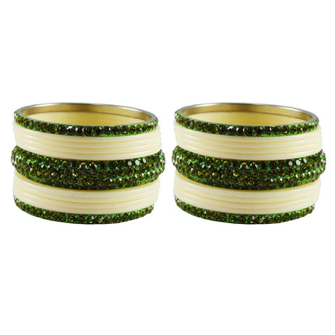 White-Green Color Stone Stud Acrylic-Brass Bangle - ban3279