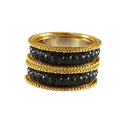 Black Color Stone Stud Brass Bangle - ban3287