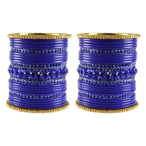 Blue Color Stone Stud Acrylic-Brass Bangle - ban3294