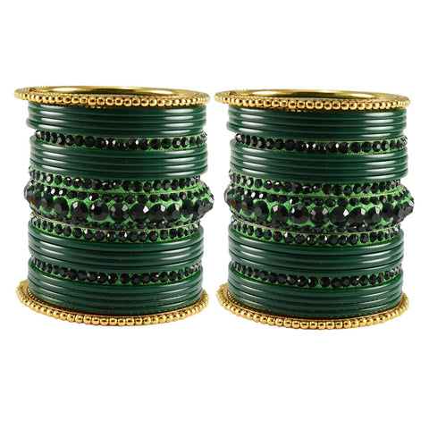 Green Color Stone Stud Acrylic-Brass Bangle - ban3296