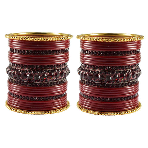 Maroon Color Stone Stud Acrylic-Brass Bangle - ban3300