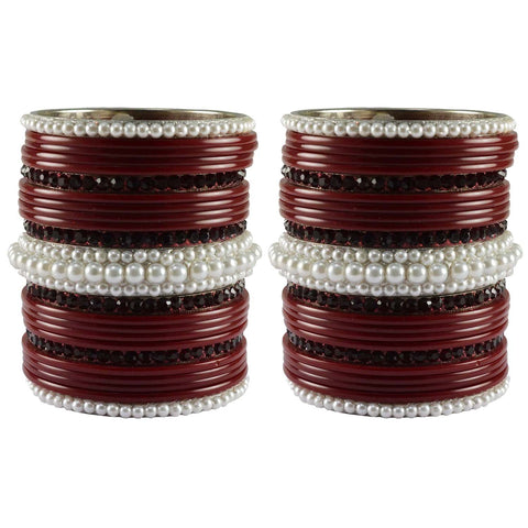 Maroon Color Stone Stud Acrylic-Brass Bangle - ban3301