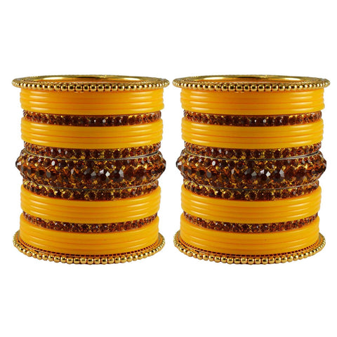 Yellow Color Stone Stud Acrylic-Brass Bangle - ban3306