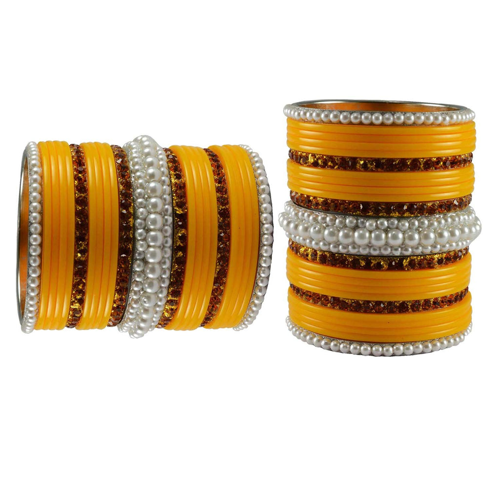Yellow Color Stone Stud Acrylic-Brass Bangle - ban3307