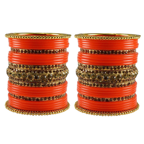 Orange Color Stone Stud Acrylic-Brass Bangle - ban3308