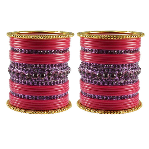 Gajari Color Stone Stud Acrylic-Brass Bangle - ban3310