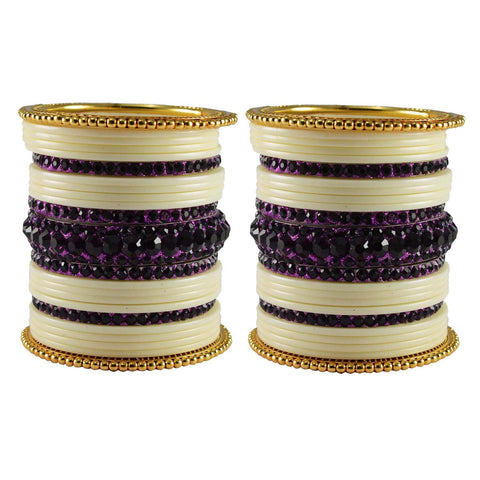 Multi Color Stone Stud Acrylic-Brass Bangle - ban3318